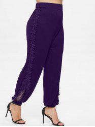 Plus Size Lace Applique Pants -
