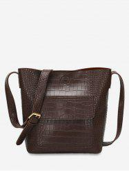 Artificial Leather Bucket Crossbody Bag -