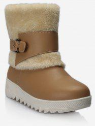 Plus Size Buckle Wrap Faux Fur Mid Calf Boots -