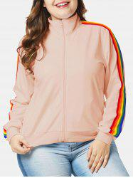 Plus Size Zipper Fly Jacket with Ribbons -