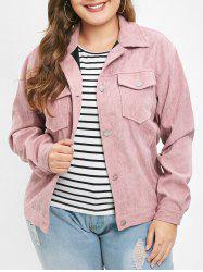 Plus Size Pockets Button Fly Corduroy Jacket -