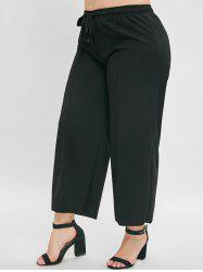 Front Slit Plus Size Wide Leg Pants -