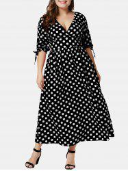 Plus Size Polka Dot Plunging Surplice Dress -
