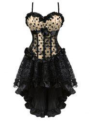 Polka Dot Plus Size Bowknot Detail Corset with High Low skirt -