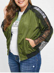Plus Size Raglan Sleeves Jacket with Lace Panel -