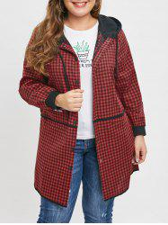 Plus Size Embroidered Pockets Plaid Hooded Coat -