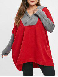 Long Sleeve Plus Size Two Tone Sweater -