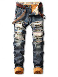 Distressed Straight Leg Fleece Jeans -