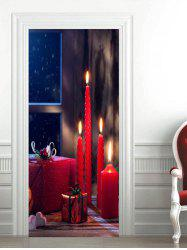 3D Christmas Gift Candle Pattern Door Art Stickers -