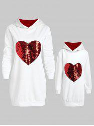 Mother and Daughter Matching Heart Sequins Tunic Hoodie -