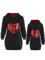 Mother and Daughter Matching Heart Sequined Hoodie -