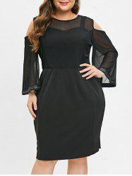 Cold Shoulder Plus Size Mesh Panel Bodycon Dress -