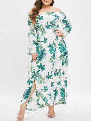 Plus Size Off Shoulder Slit Printed Maxi Dress -