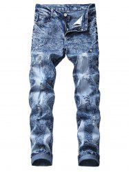 Vintage Ripped Wrinkles Faded Straight Jeans -