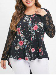 Plus Size Asymmetric Floral Top with Lace -