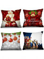 4PCS Father Christmas Bell Ball Printed Pillow Cover -