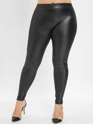 Elastic Waist Plus Size Faux Leather Leggings -