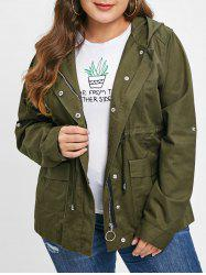 Plus Size Zip Up Hooded Jacket -