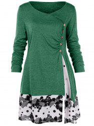 Plus Size Draped Floral Long Tunic Tee -