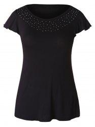 Plus Size Rhinestone Embellished T-shirt -
