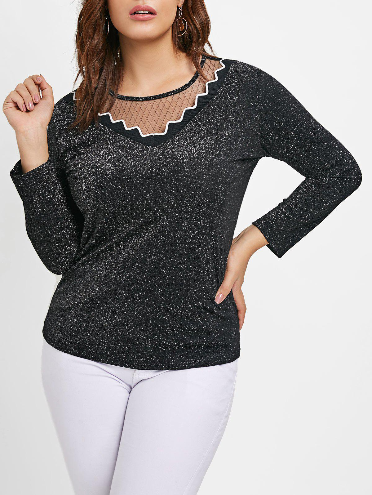 Buy Mesh Panel Plus Size Shining T-shirt