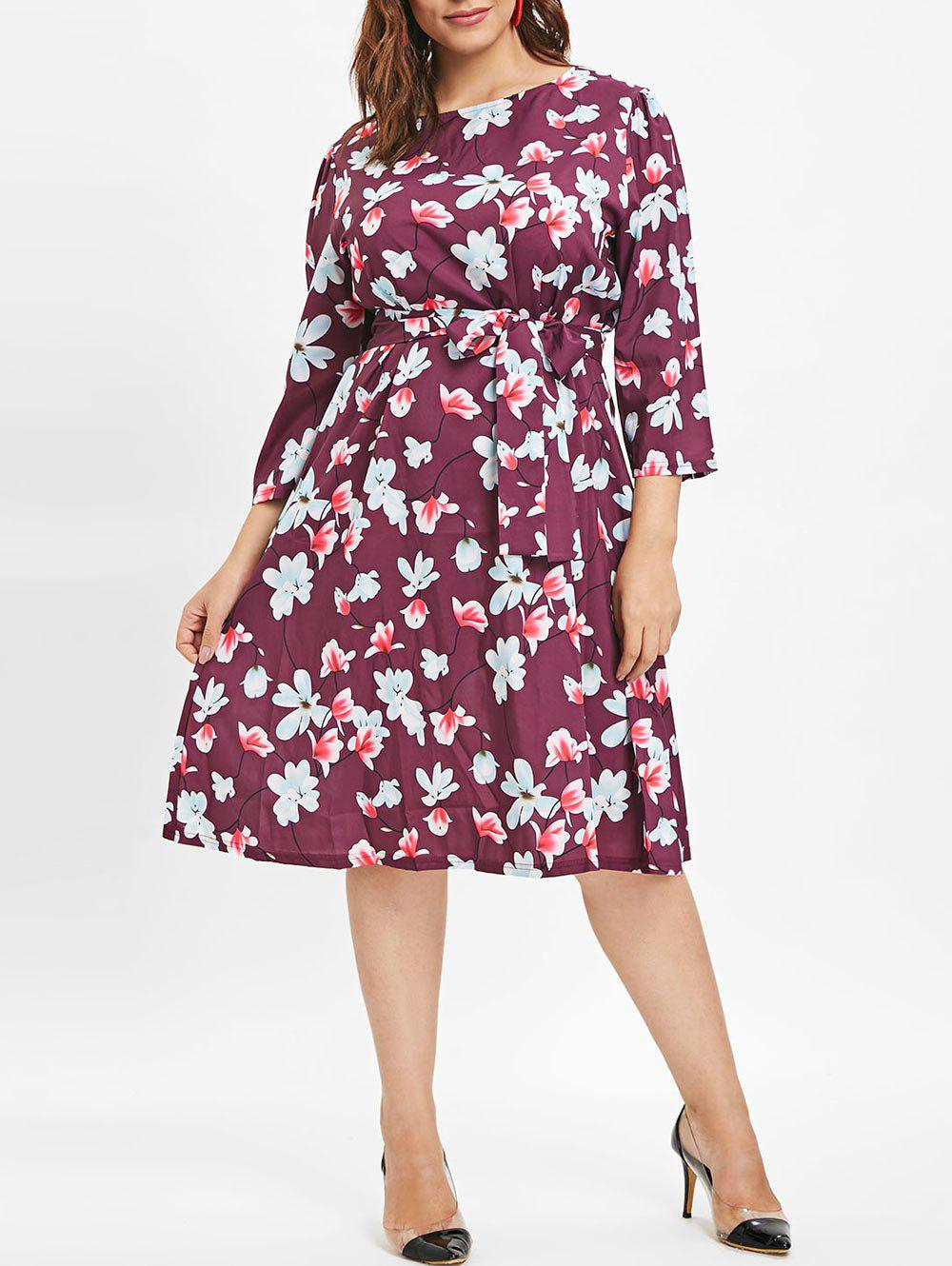 New Plus Size Mid Calf Floral Printed Dress