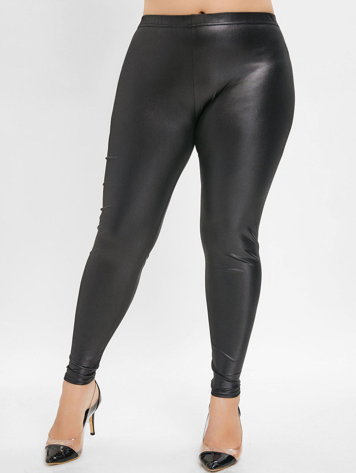 Affordable Elastic Waist Plus Size Faux Leather Leggings