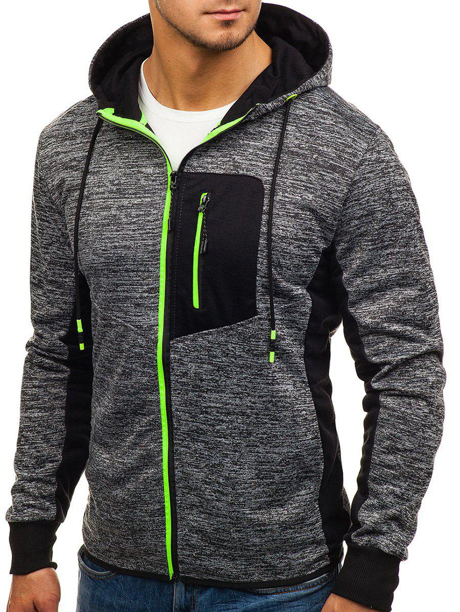 Latest Contrast Color Patch Pocket Zip Fly Hoodie