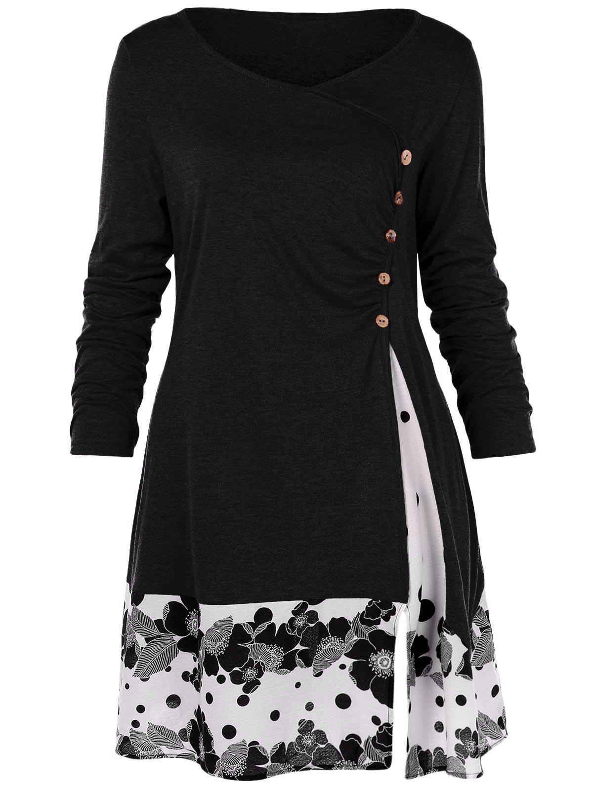 Unique Plus Size Draped Floral Long Tunic Tee
