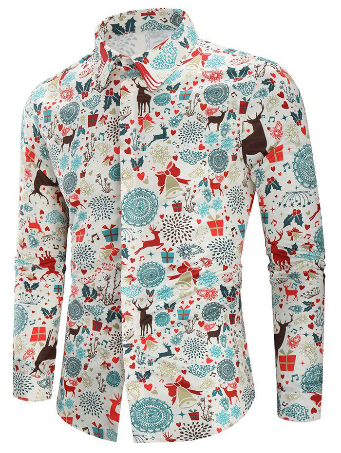 Chic Christmas Print Casual Shirt