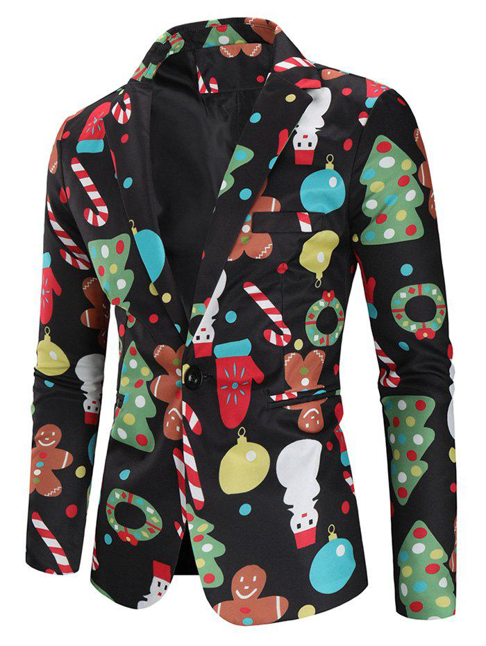 Sale Christmas Snowmen Candy Tree Printed Casual Blazer