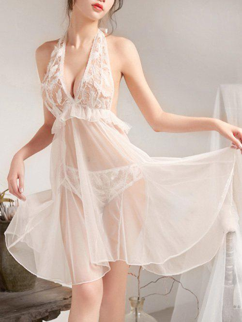 Best Halter Backless Feather Mesh Babydoll