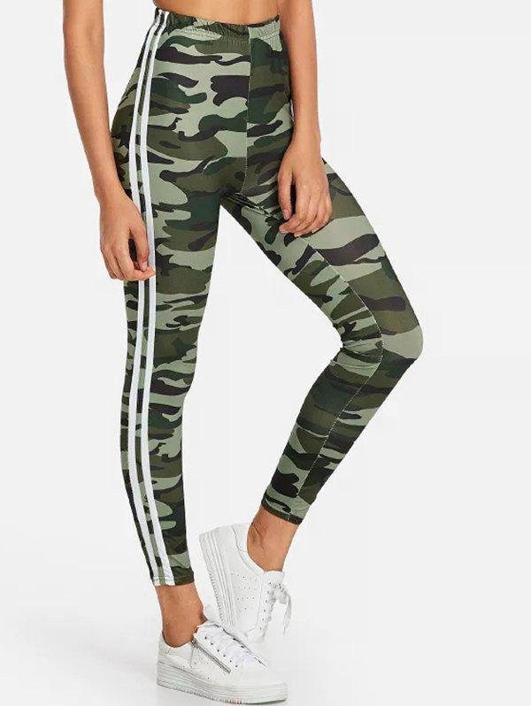 Trendy Camo Print Side Striped Gym Leggings