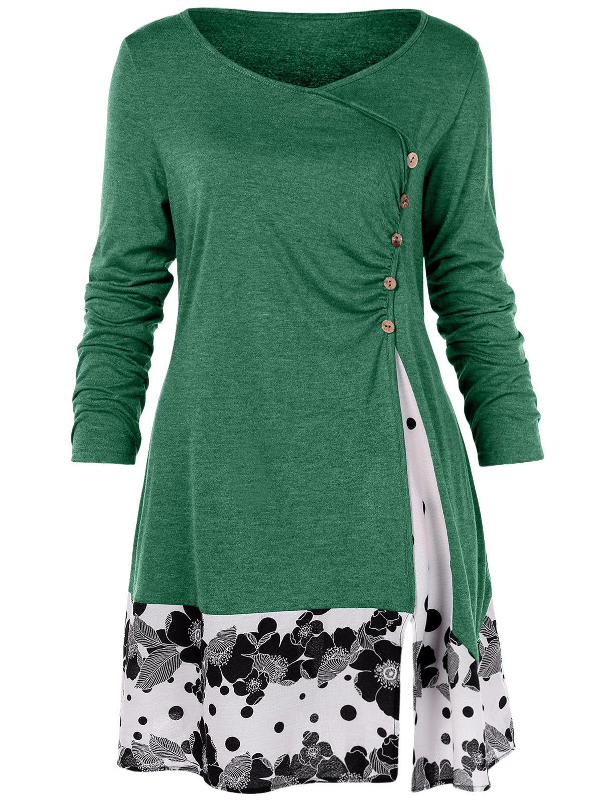 Affordable Plus Size Draped Floral Long Tunic Tee