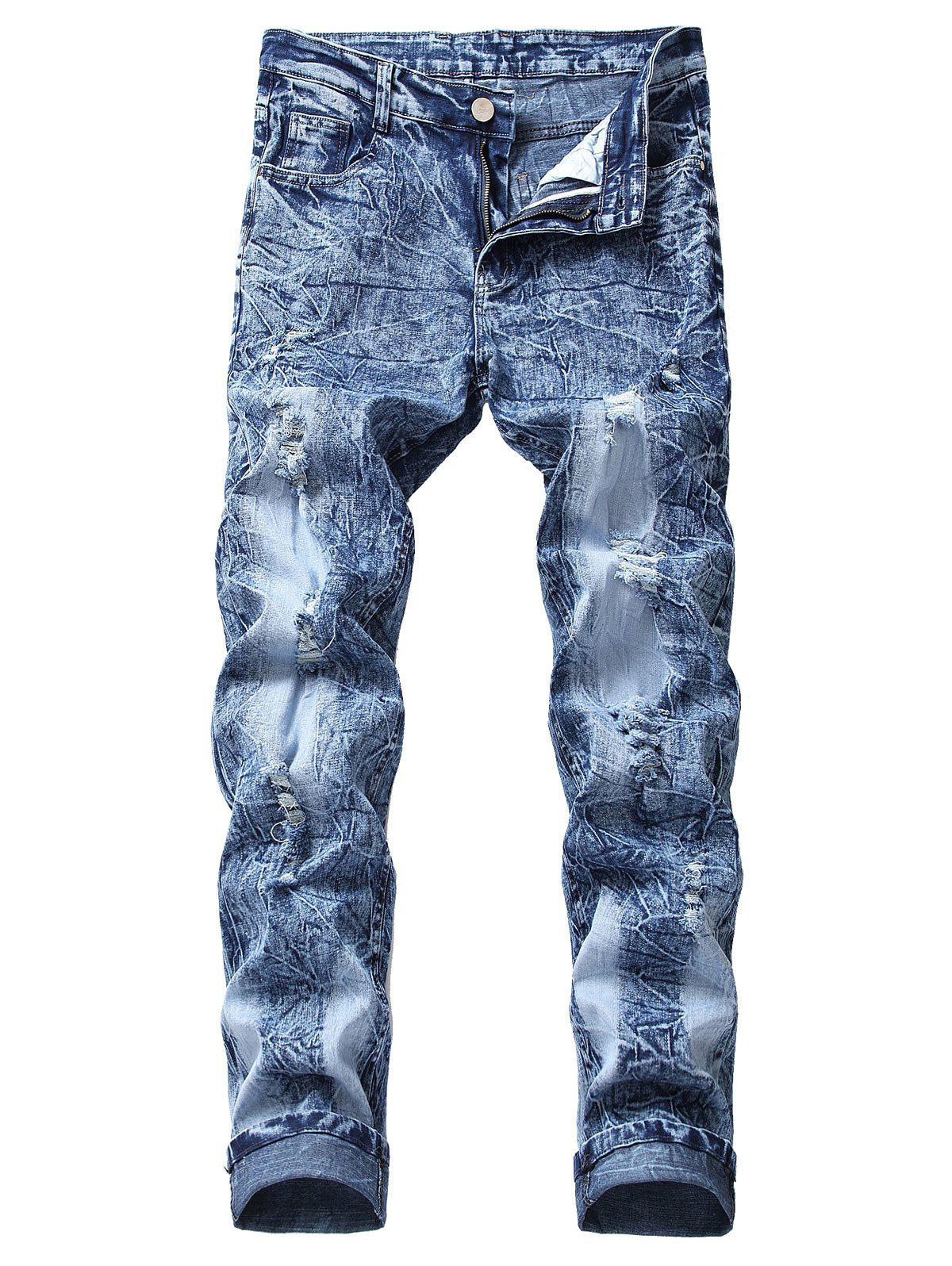 Shops Vintage Ripped Wrinkles Faded Straight Jeans