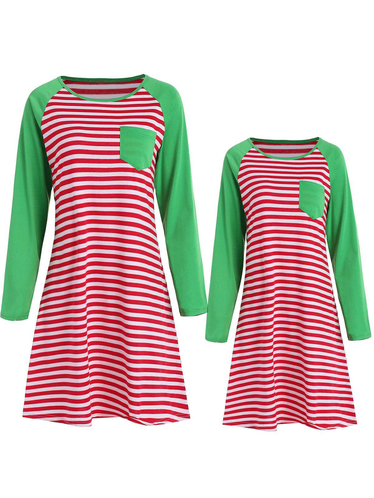 Store Mother and Daughter Matching Stripe Sleeping Dress