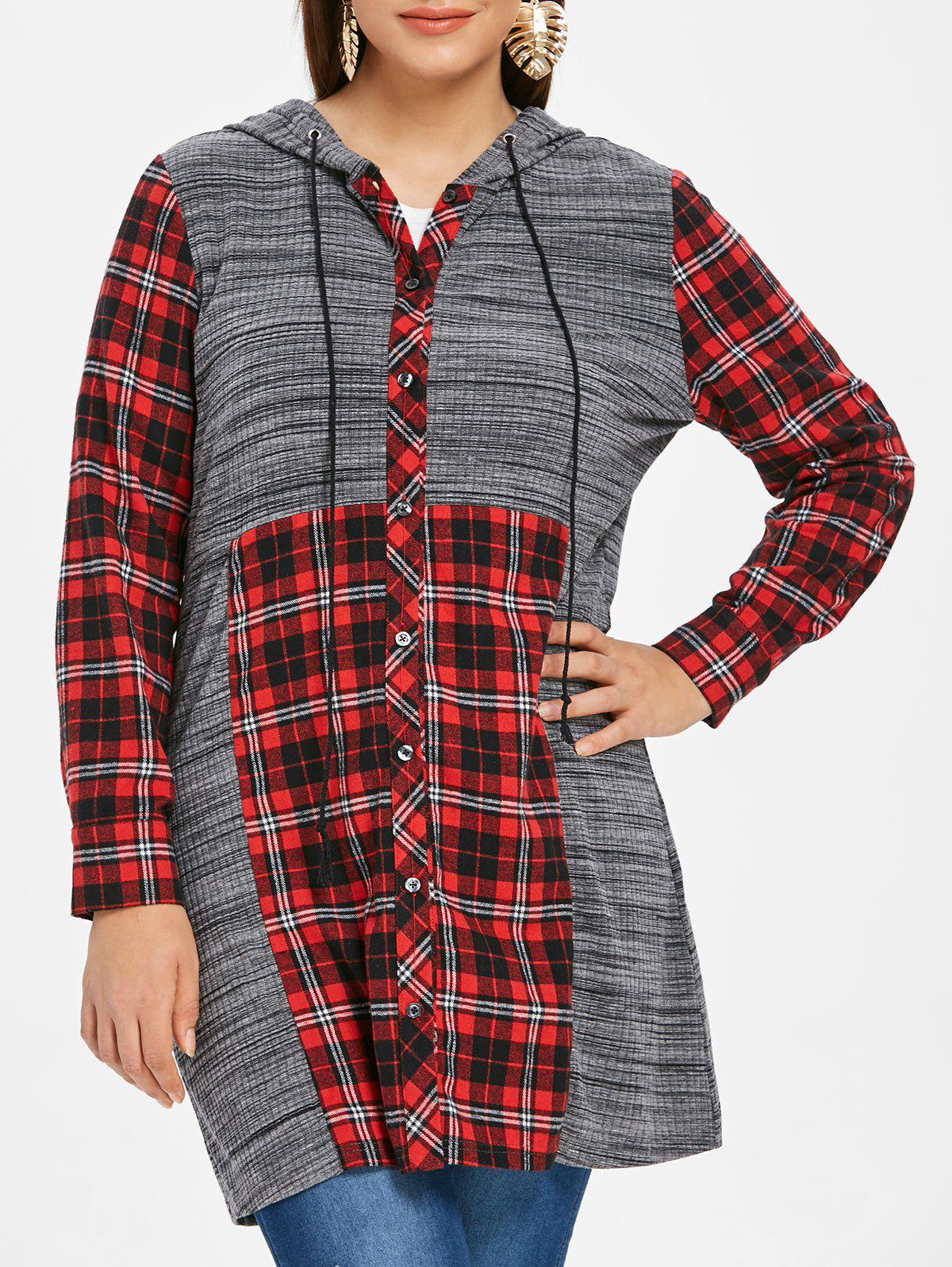 Discount Plus Size Hooded Drawstring Plaid Marled Shirt