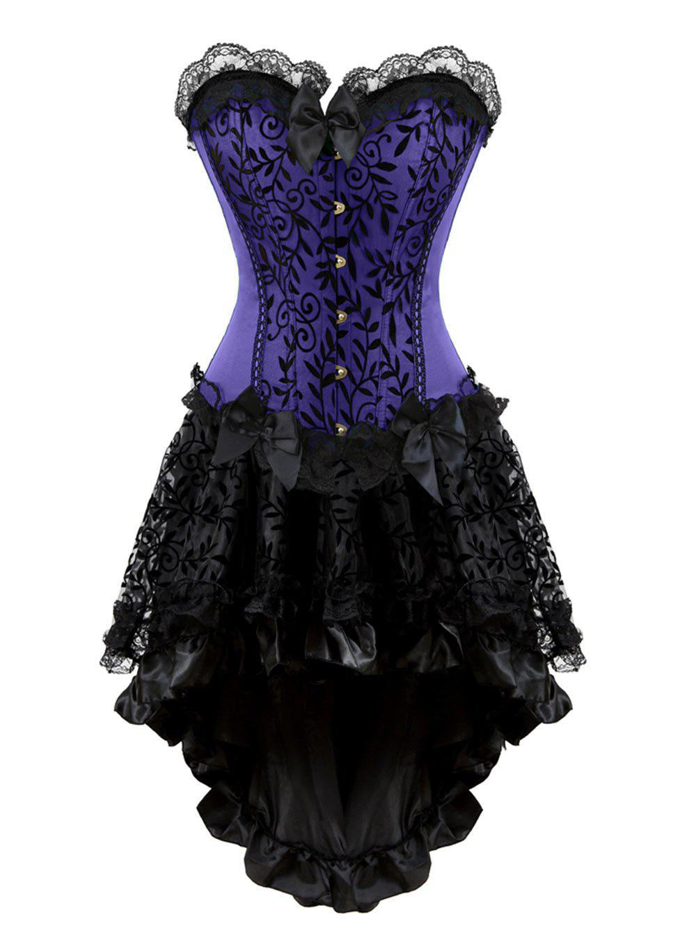 Fashion Lace Panel Plus Size Corset with High Low Skirt