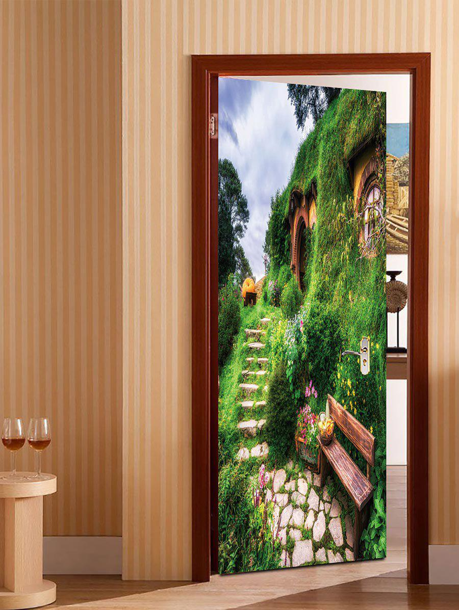 Unique 3D Grass House Pattern Door Art Stickers