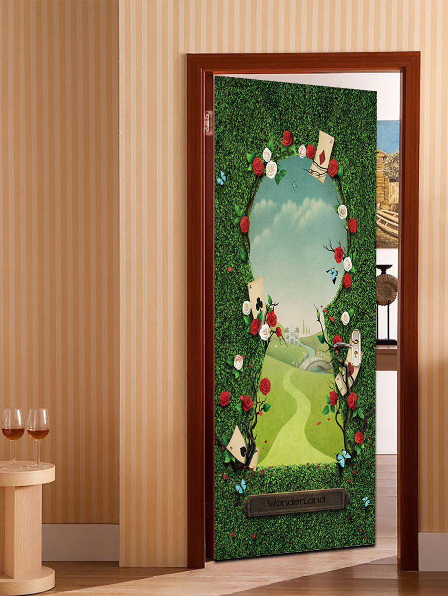 Best 3D Flower Wonderland Pattern Door Art Stickers