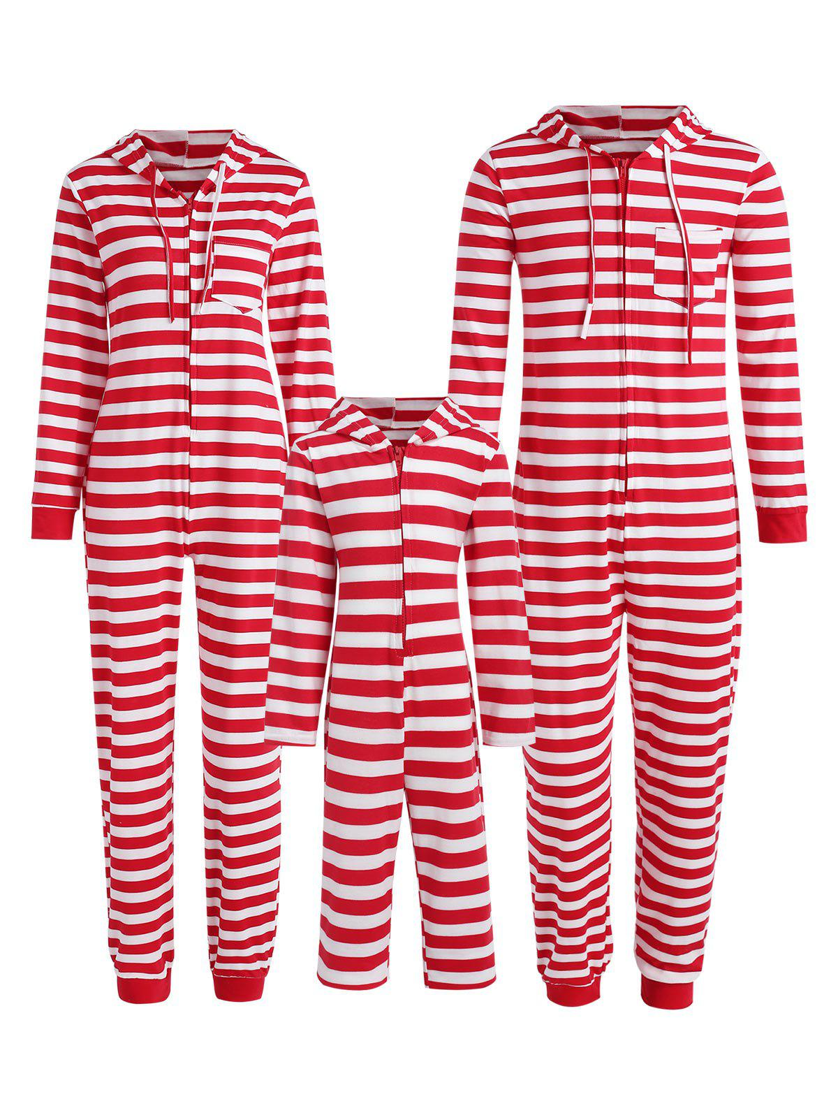 Hot Family Christmas Stripe Hooded Jumpsuit Pajama