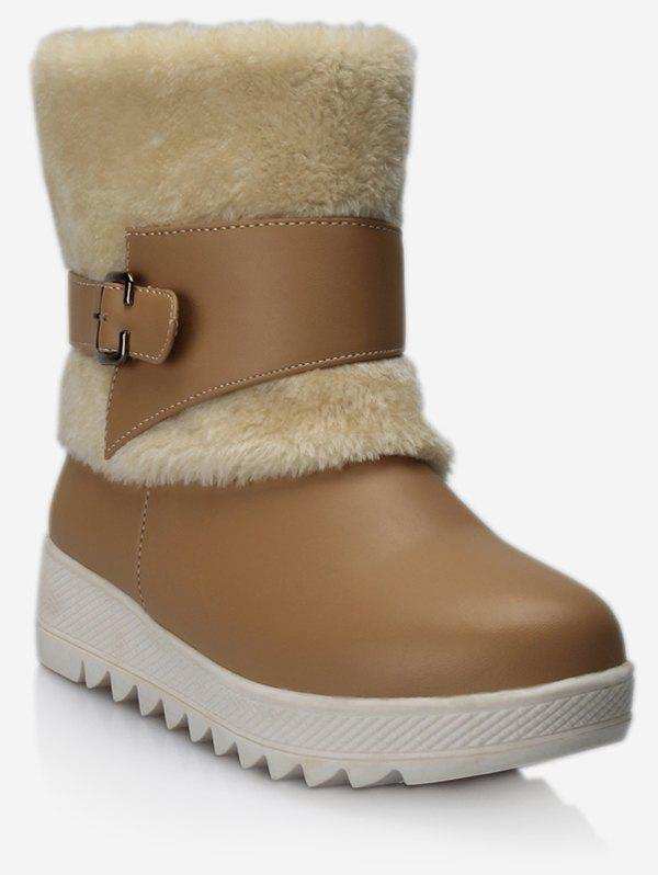 Shops Plus Size Buckle Wrap Faux Fur Mid Calf Boots