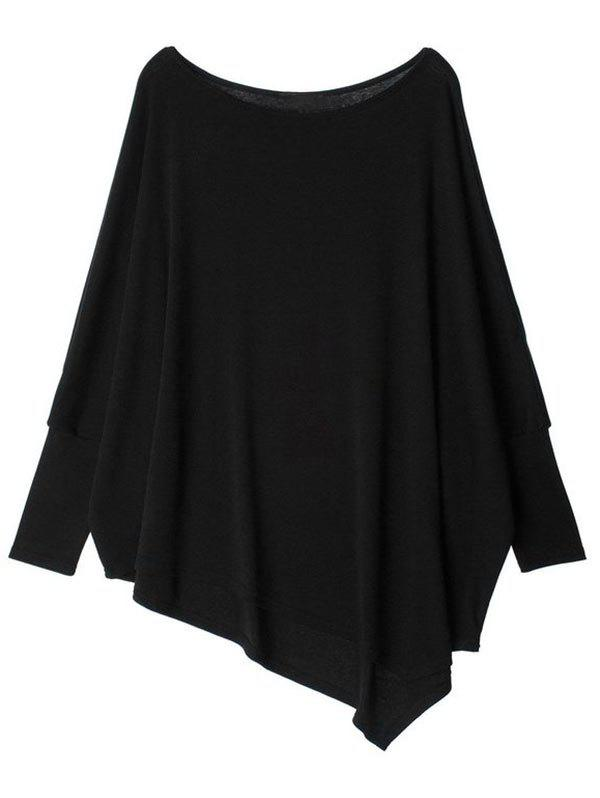 Affordable Batwing Sleeve Plus Size Asymmetrical T-shirt