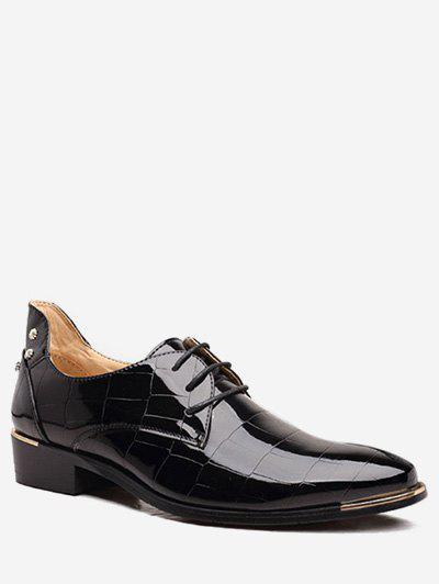 Best Pointed Toe Geometric Patent Leather Shoes