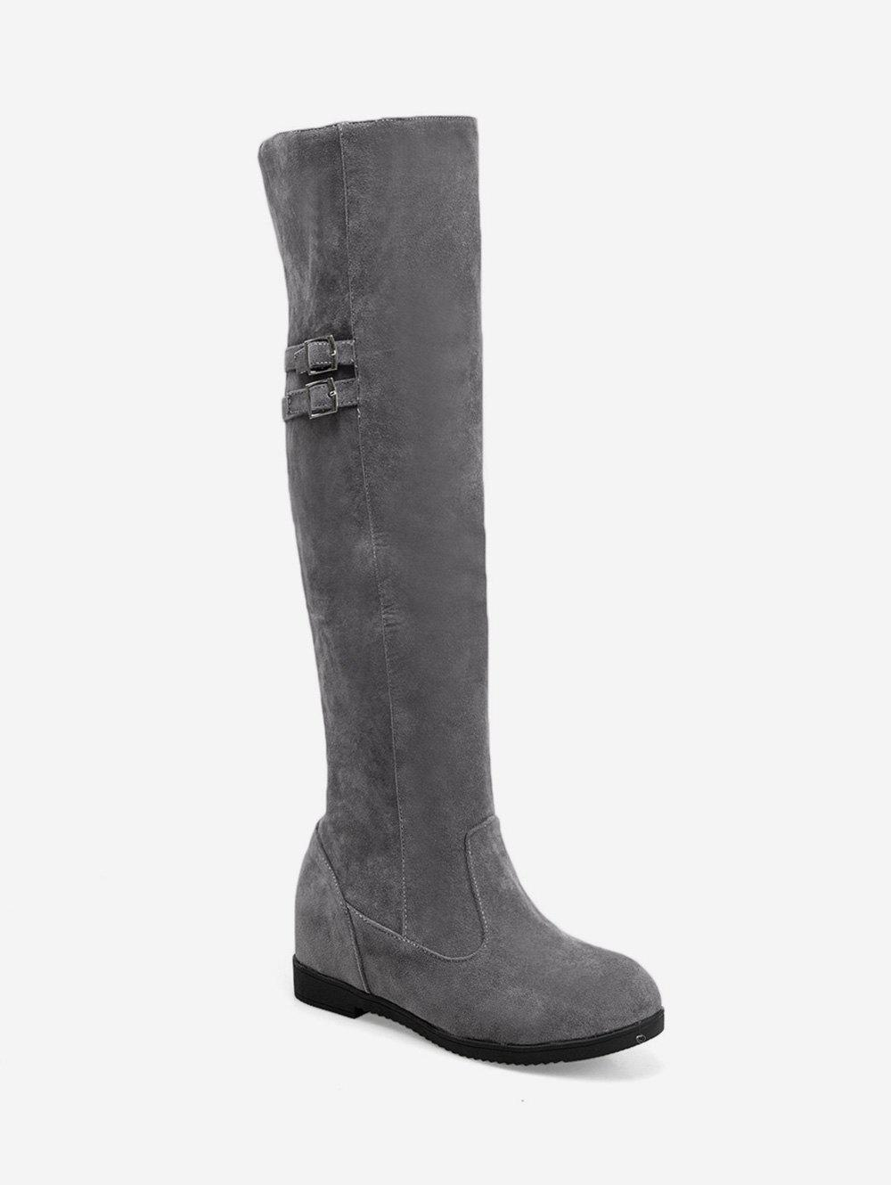 Outfit Plus Size Buckle Detail Hidden Heel Knee High Boots