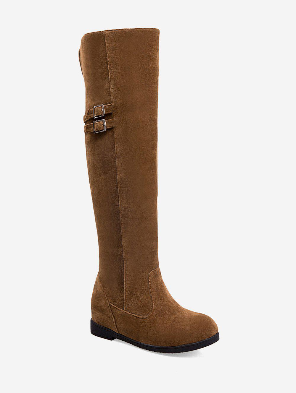Latest Plus Size Buckle Detail Hidden Heel Knee High Boots
