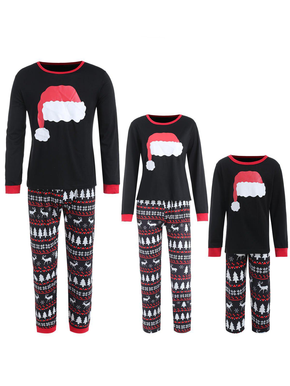 Outfit Family Christmas Hat Print Pajamas