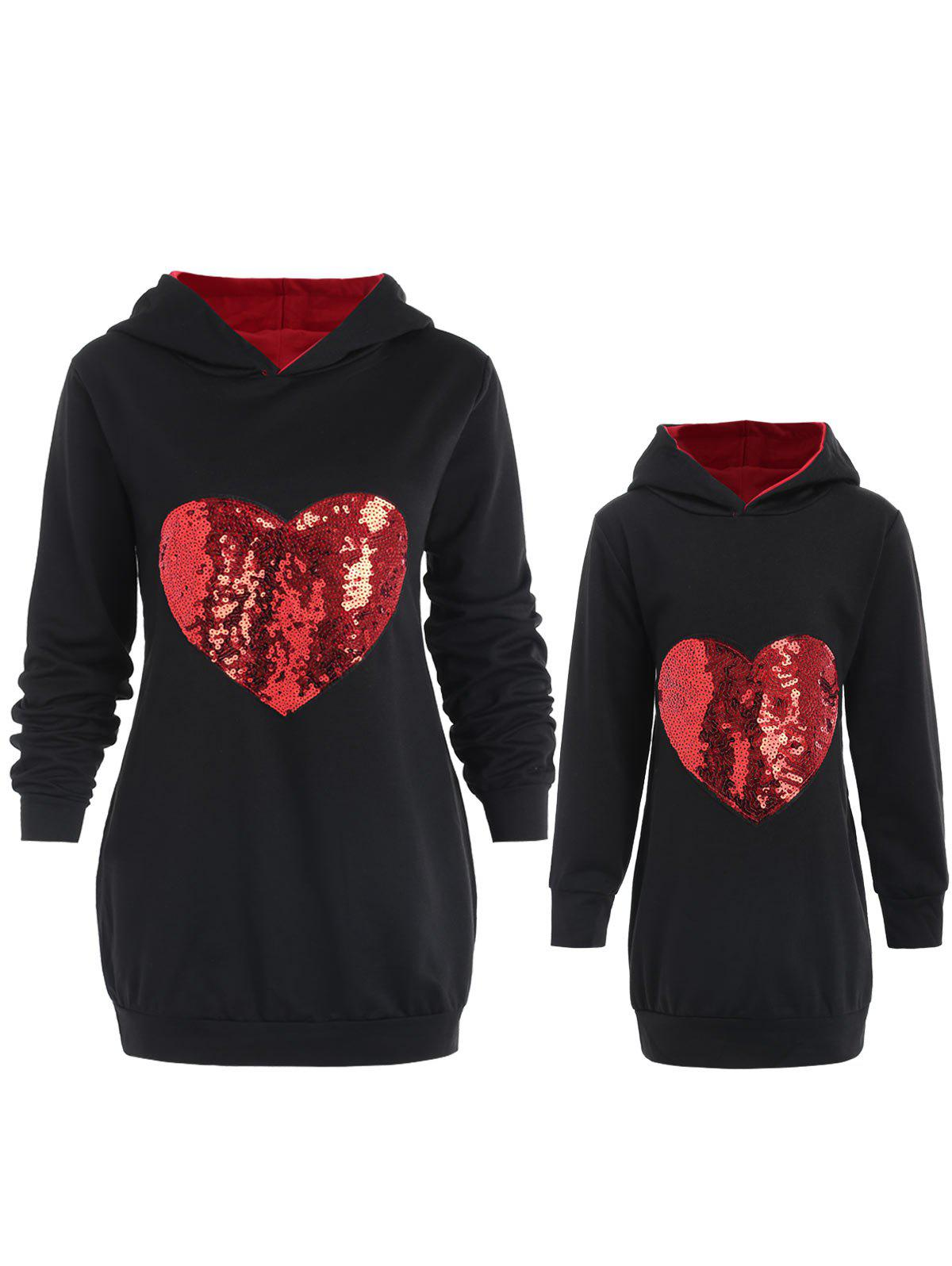Cheap Mother and Daughter Matching Heart Sequined Hoodie