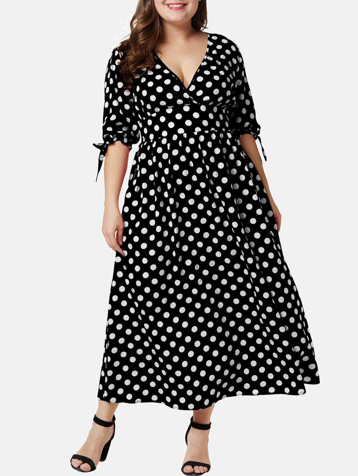 Fashion Plus Size Polka Dot Plunging Surplice Dress