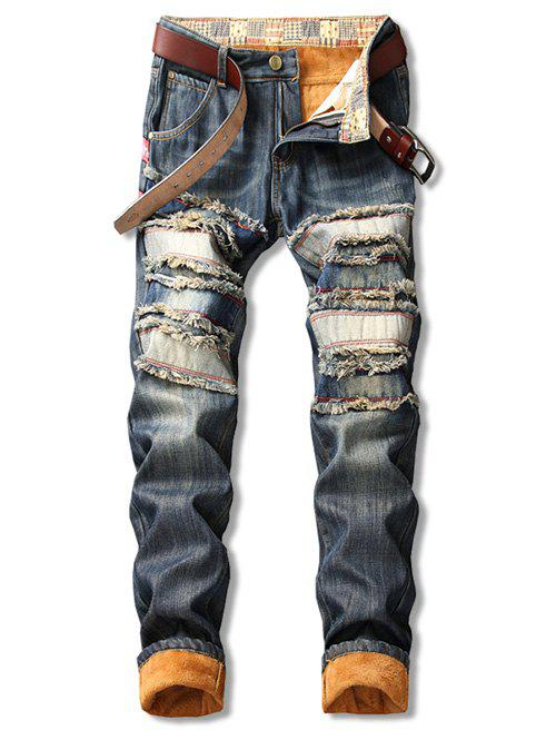 Shops Distressed Straight Leg Fleece Jeans